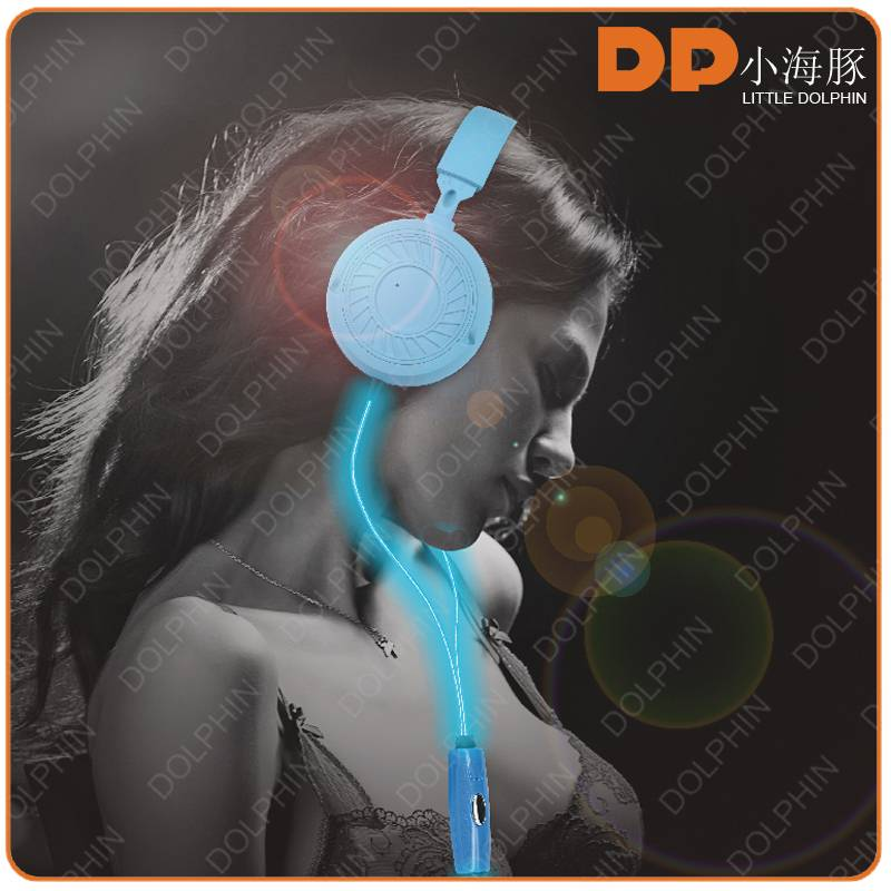 Alibaba EL flashing noise concelling headphone wire earphone with mic