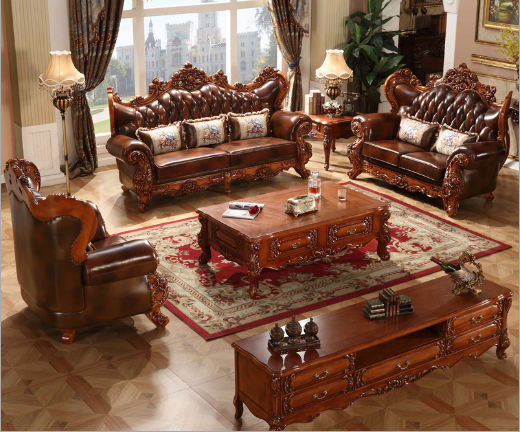 European leather solid wood sofa