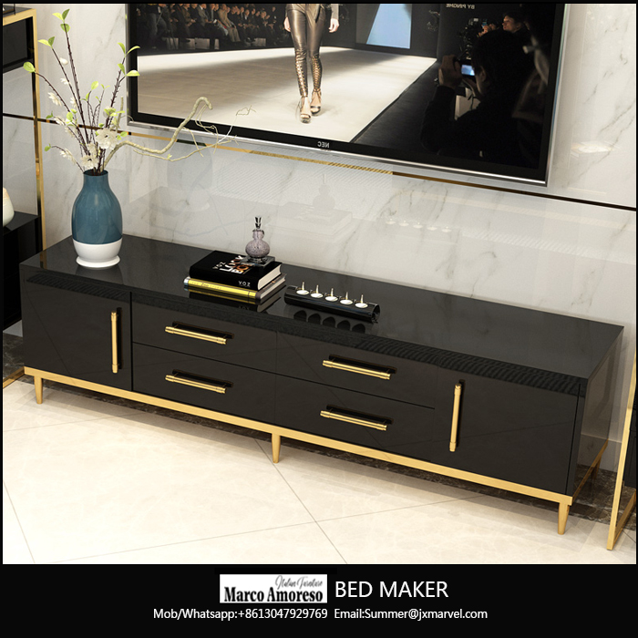 living room furniture sets gold mirrored high gloss coffee table, tv stand,console table,desk,chest