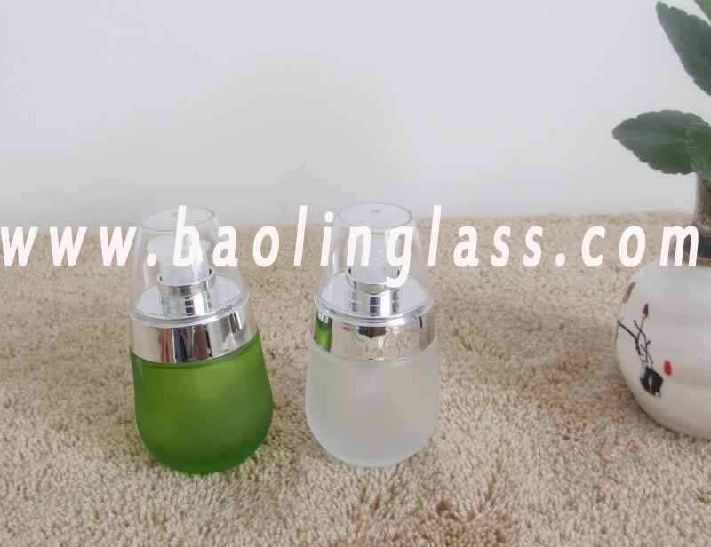 Glass Skin Cream Lotion Bottle With Pump