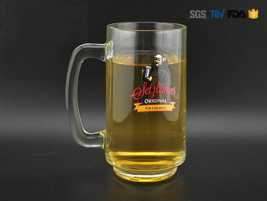 Printed Beer Glass With Handle