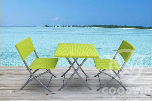 Gw3291 Set Outdoor Furniture Rattan Folding Dining Set