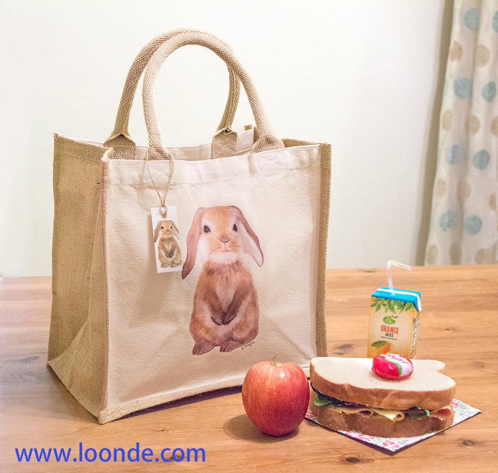 Lunch Bag, Food sandwich bag, Reusable Mini Jute Bag with Bunny Print, printed tote bag