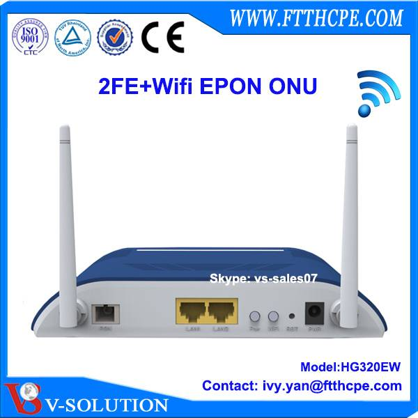 route mode 2 FE LAN ports EPON wifi ONU with 2 antenna