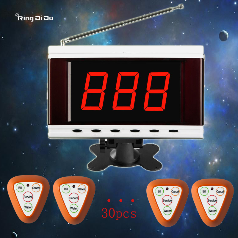 1pcs Host screen+30pcs four keys Triangle buttons Wireless calling pager,host screen