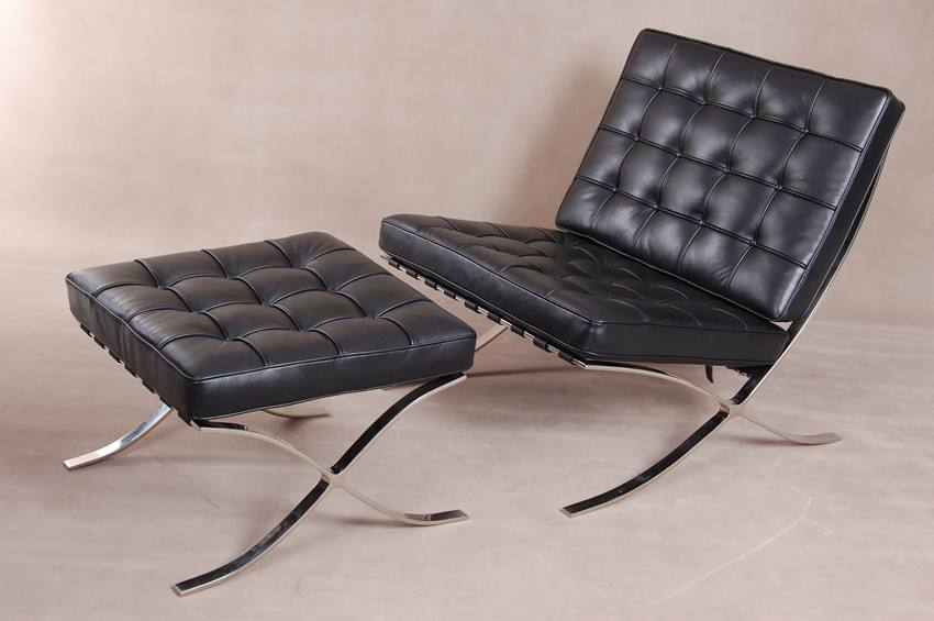 SHIMING FURNITURE MS-3101 Black leather moroccan style Barcelona Chair and ottoman