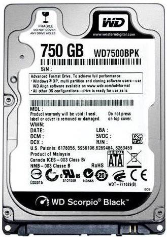 "Western Digital WD7500BPKX WD Black 750GB 2.5"" Internal HDD Mobile Hard Drive Disk"