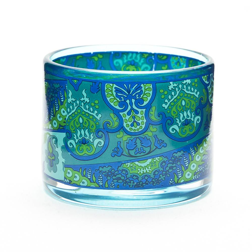 Home use decorative glass candle holder paisley pattern votive candle holder
