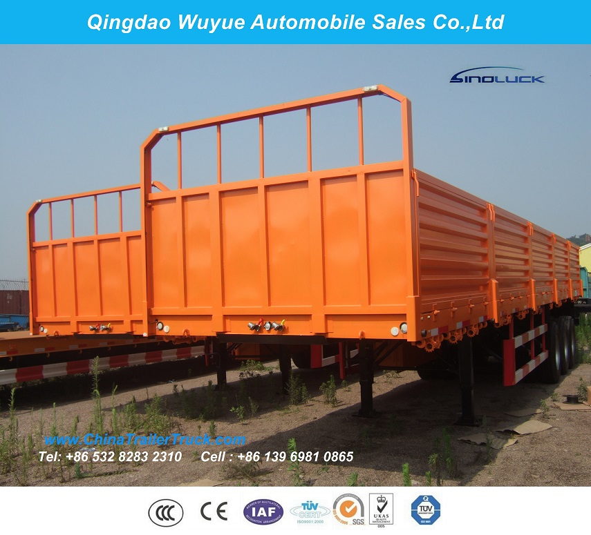 3 Axles Fence Semitrailer or Side Wall Semi Truck Trailer