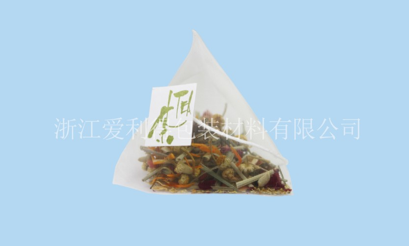 PLA mesh filters for pyramid tea bags and coffee bags with tag