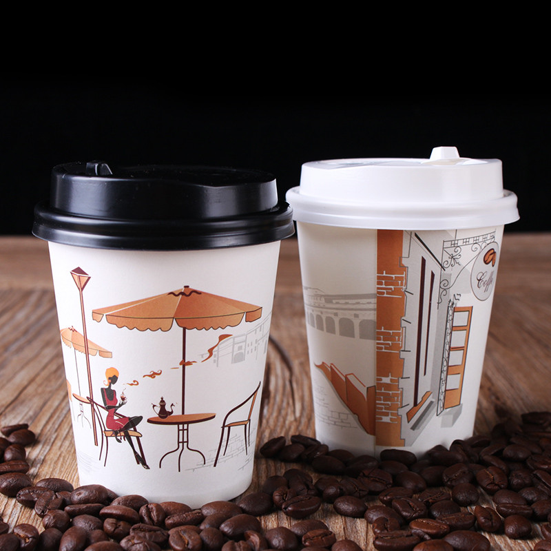 double wall disposable paper coffee cup with lids