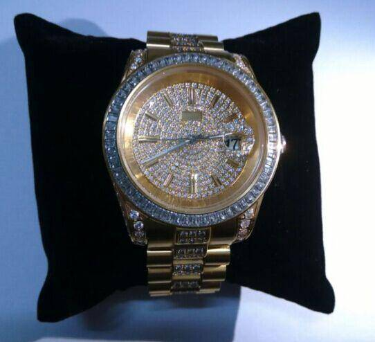Unisex Gold Rolex style iced out cz watch