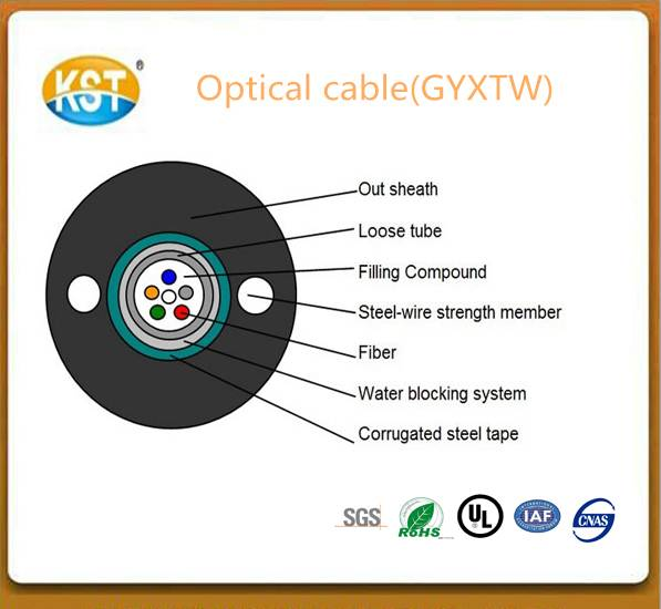Optical cable/2-12 cores central Loose Tube Outdoor Cable(GYXTW)