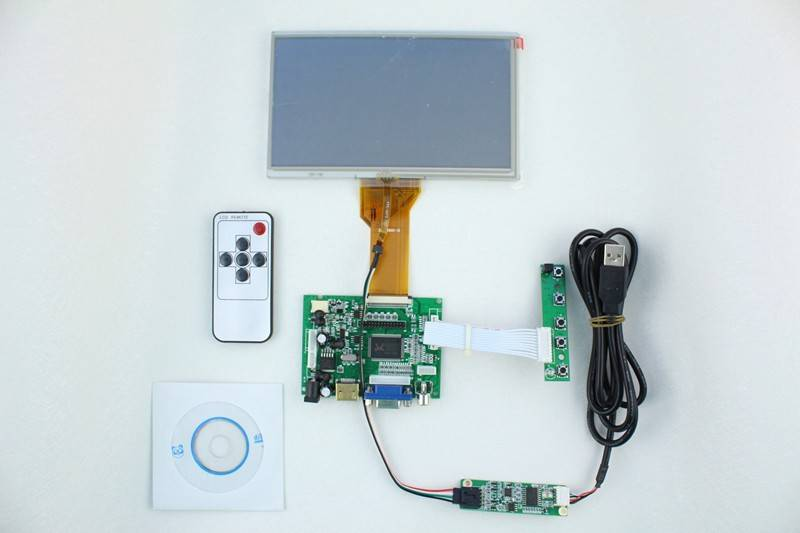 HDMI+2AV +VGA of LCD driver board +AT070TN94 with 800*480 + touch panel with control card+Remote con