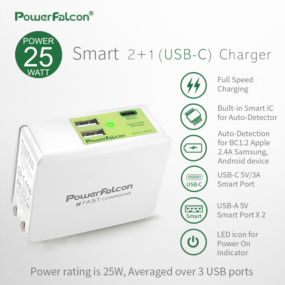 Powerfalcon 25W Smart 2+1(Type-C) port Charger/ Foldable