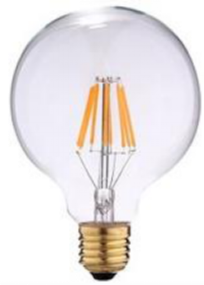 LED G80 6W FILAMENT BULB GLASS RETRO 85-265V CHANDELIER USED SAVING ENERGY LAMP EU MODEL