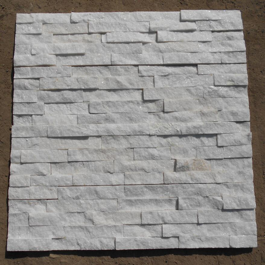 White cultured stone for wall decoration 60x15cm
