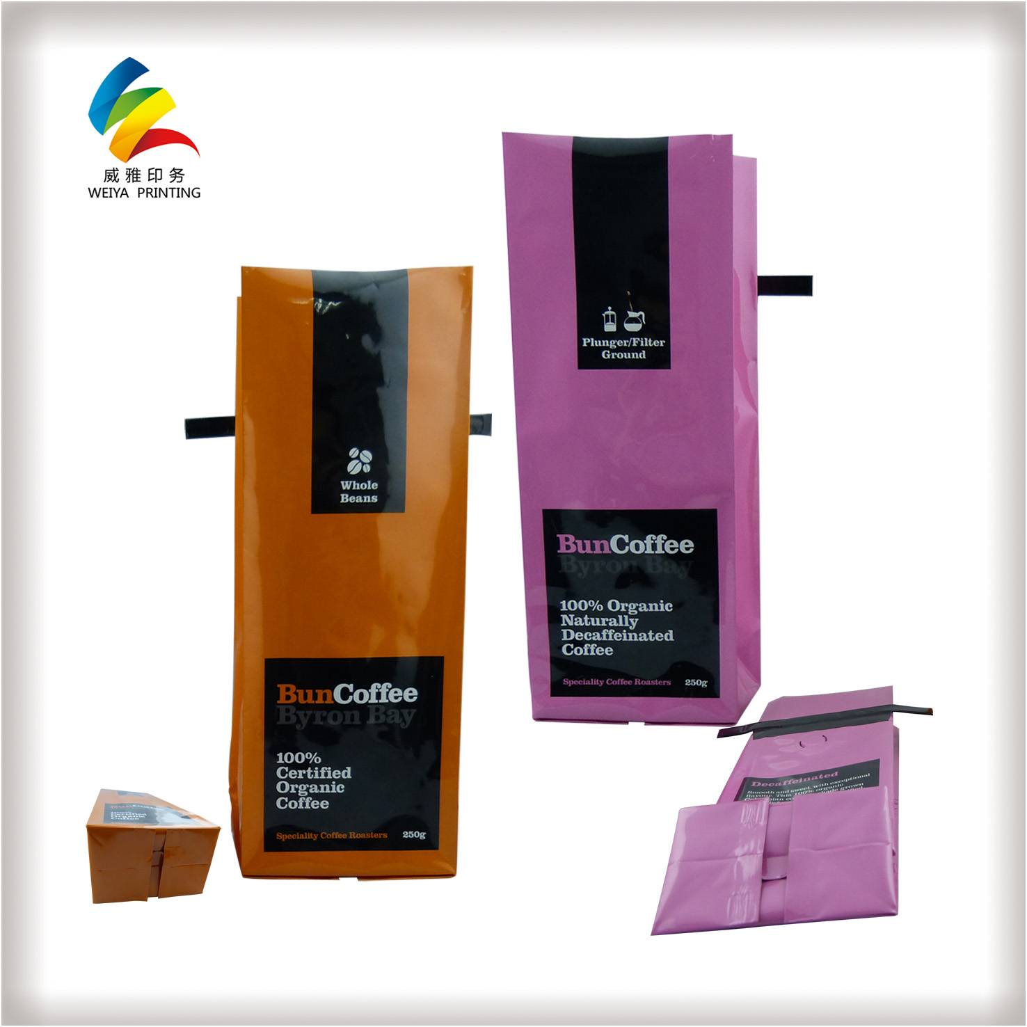 Customization design printing kraft paper coffee bags with valve
