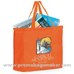 "Full Color Logo Imprint Non-Woven Shopper Tote Bag - 16""w x 12""h x8""d"