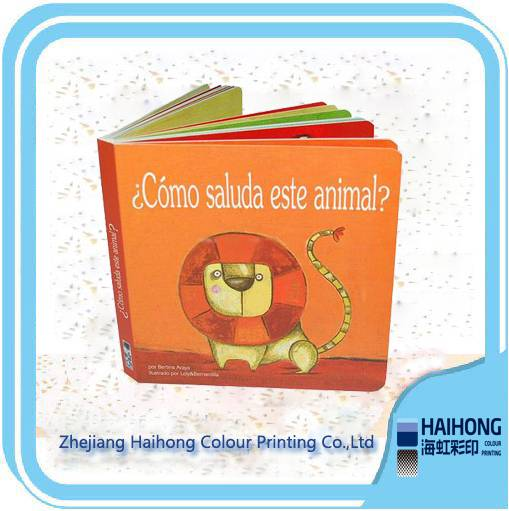 Hardcover child cardboard book with coloring pictures