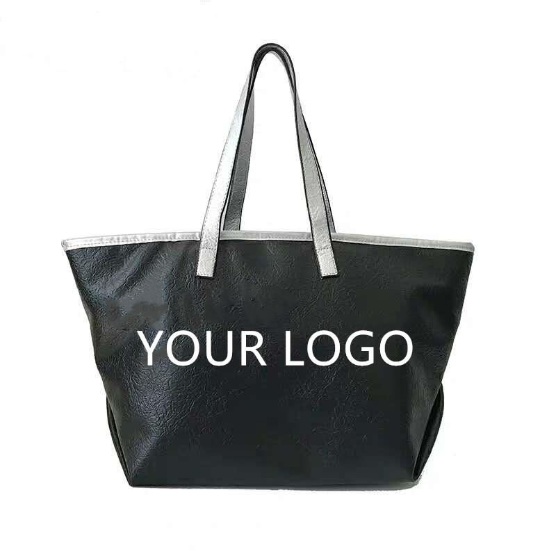 Large capacity PU shoulder bag PU zipper shopping bag leather bag women