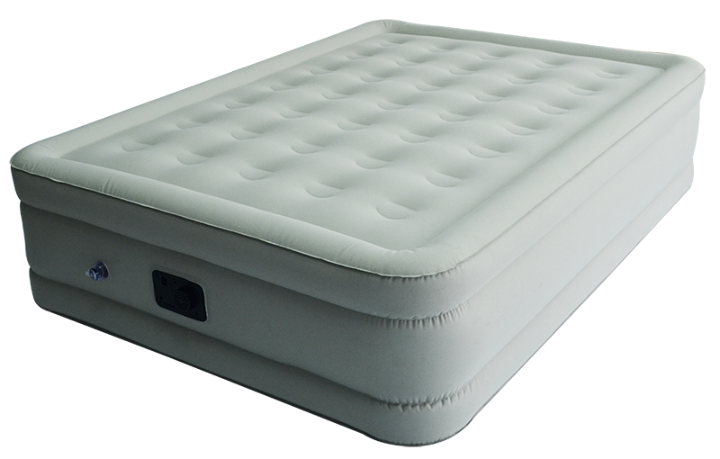 Laminated queen sized raised air beds with built-in pump
