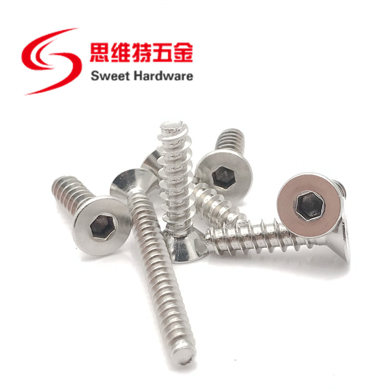 Countersunk head socket screw A2 A4 stainless steel blunt tip tapping screw with competitive price