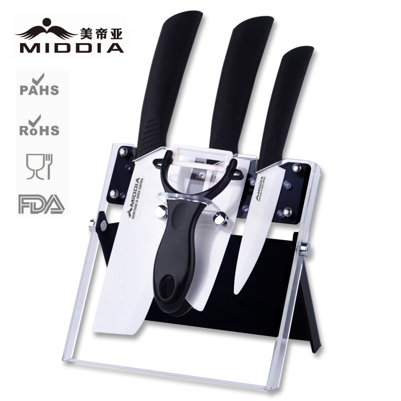 Ceramic Knife and Peeler set with acrylic block factory price