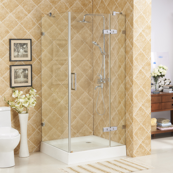 Hinge open zhejiang shower enclosure with stainless steel 304 accessories 6mm temper glass
