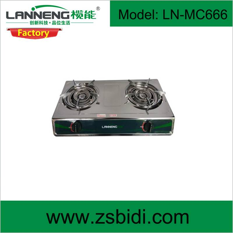 Durable stainless steel gas stove with peizo or pulse ignition