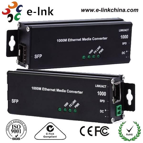3.3V Hardened Microtype 1000Base-TX to 1000Base-FX SFP Ethernet Media Converter