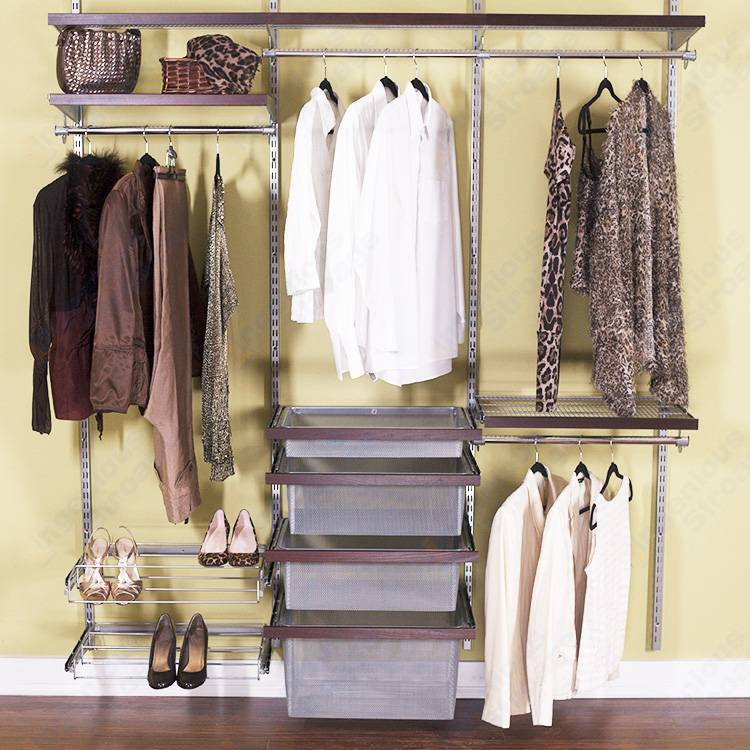 Classic wire closet shelving for bedroom wardrobes