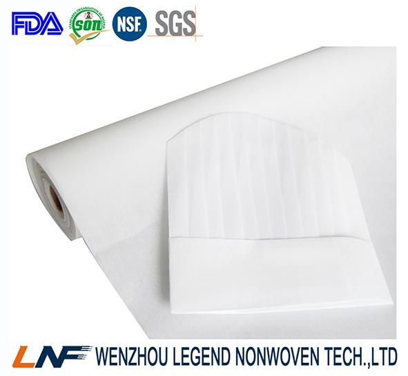 optical white chef hat nonwoven fabric