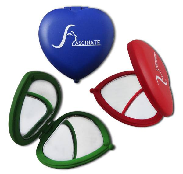 Promotional compact makeup mirrors, heart shape and double-sided