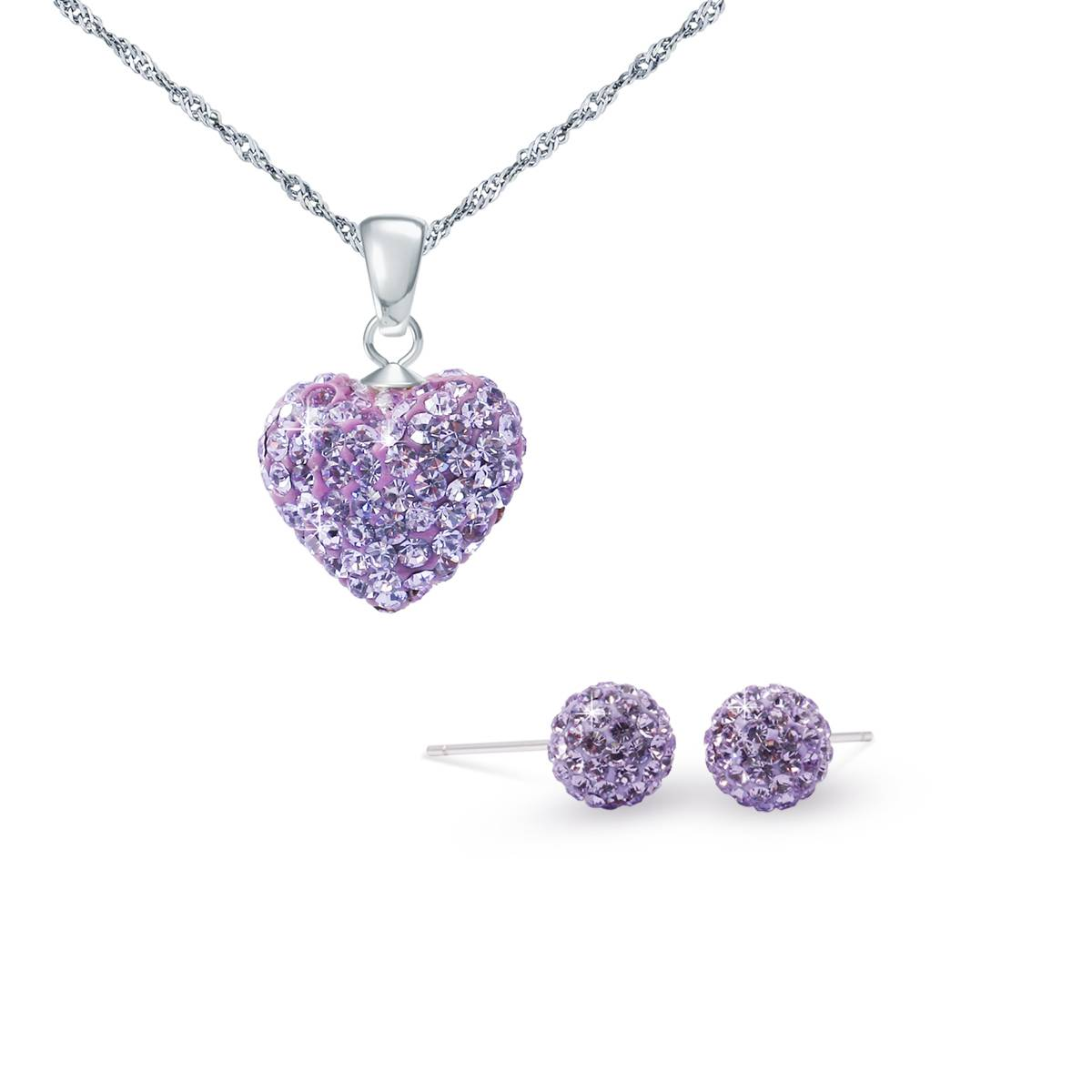 Charm Crystal jewelry set with 925 silver chain