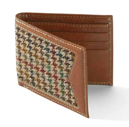 Men's Tweed Leather Wallet/genuine leather wallet/Tweed wallet/men wallet