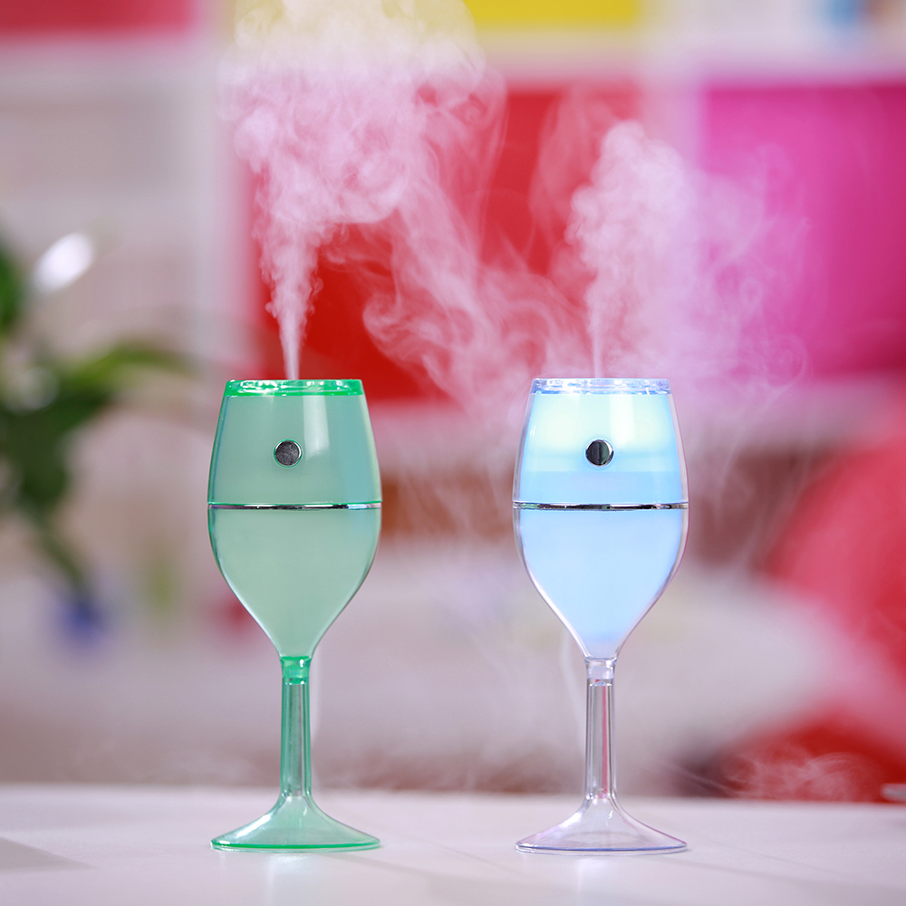 2017 Newest fashion 80ml Red wine glass ultrasonic cool mist air humidifier for home office car