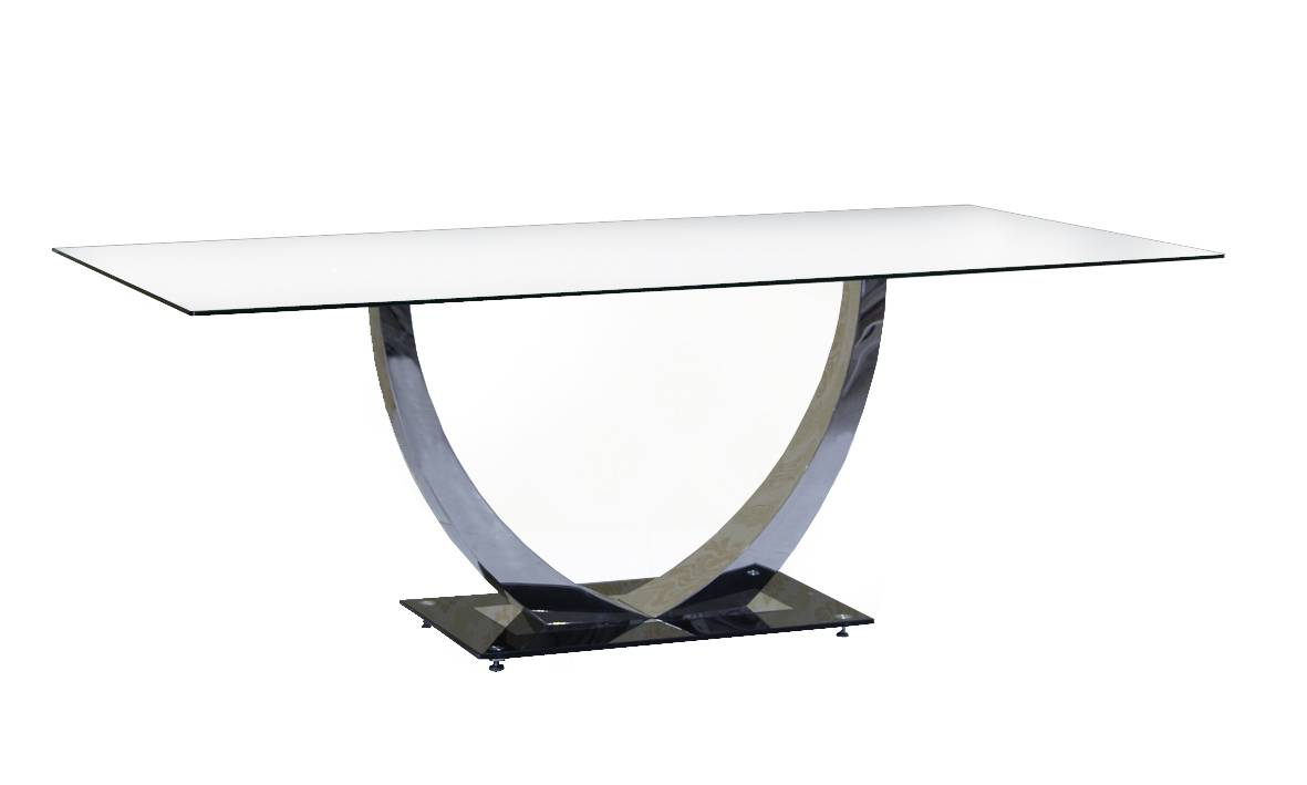 Stainless Steel Dining Table with Tempered Glass