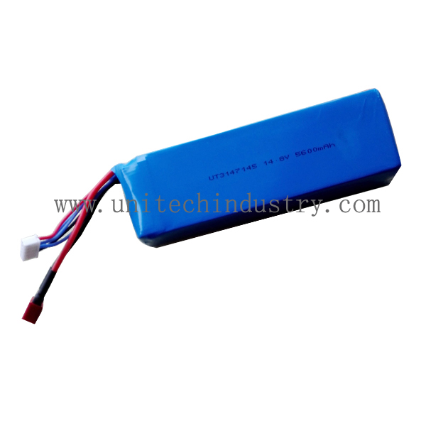 High rate drone li-polymer battery pack 10C continues discharge 5600mAh 14.8V