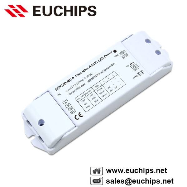 350/500/700mA 25W 1 channel dali constant current led dimmable driver EUP25D-MC-0