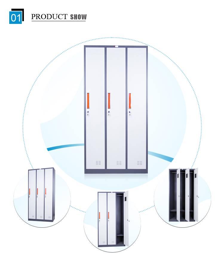 Mingxiu 3 door cheap metal storage cabinet / metal storage locker wardrobe for hanging clothes