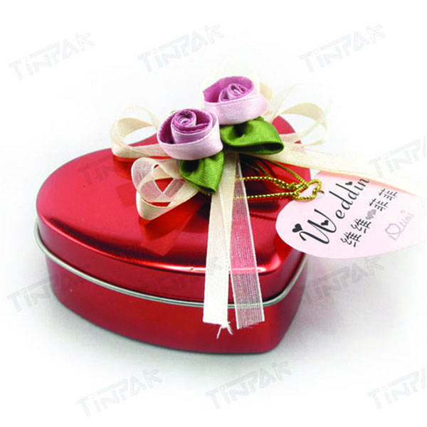 dongguan luxury heart shape gift tin box