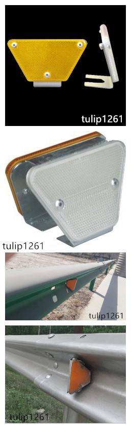 Flexible road delineator post and guardrail attached reflector