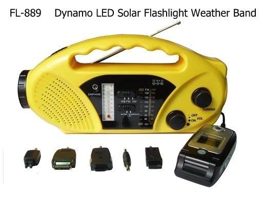 FL-889 Dynamo LED Solar Flashlight Weather Band
