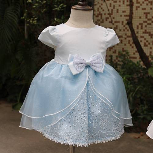 Latest bow lace mesh dress princess party wear dresses for girls