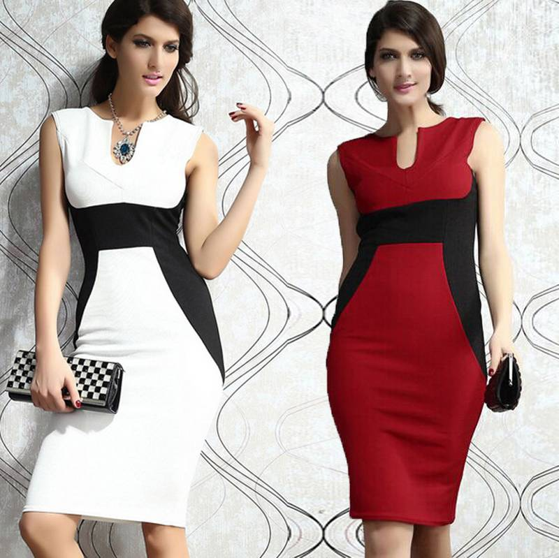 Women Fashion Work Formal Office Slim Pencil Dress Women Bodycon Party Dress