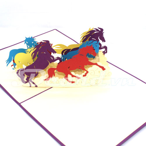 Eight horses-3d card-birthday card-pop up card-greeting card-handmade card-laser cut-paper cutting