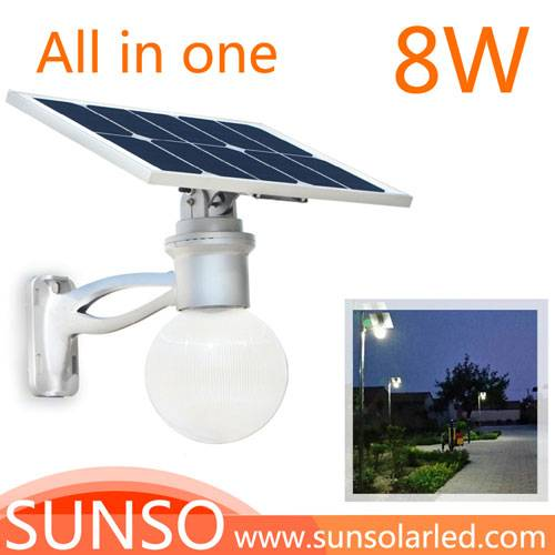 8W All in one solar powered LED yard, security, residential, Prairie light with motion sensor functi