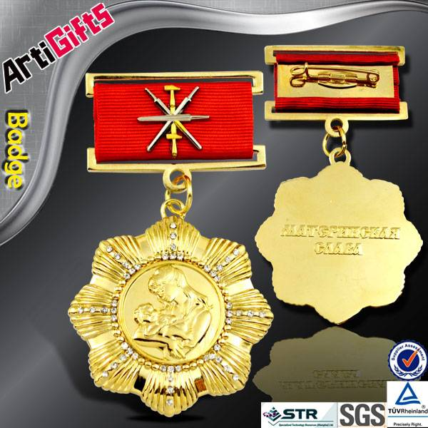 New fashion products metal gold company badges