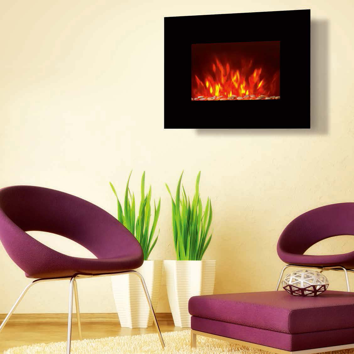 "26""Black Flat Tempered Glass Wall Mounted Electric Fireplace Heater(Pebbles Fuel) LED flame EF451S r"